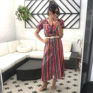Dresses & Skirts - Multicolored long button up collared dress
